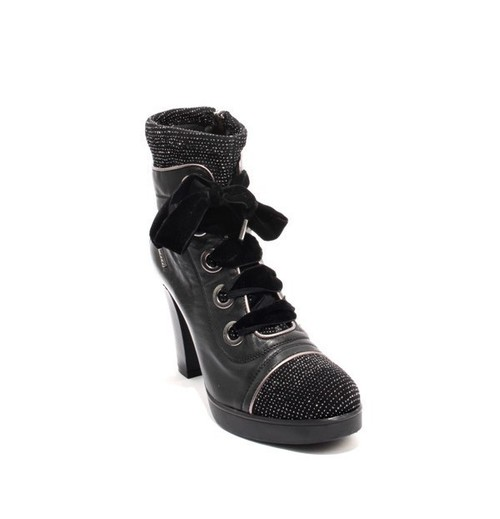 Black Leather Lace Zip Platform Heel Ankle Boots