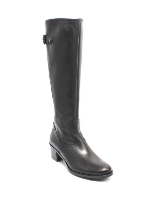 Black Leather Elastic Zip Knee-High Riding Heel Boots