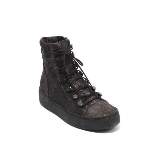 Gray Sparkle Suede Zip Lace-Up Ankle Platform Boots