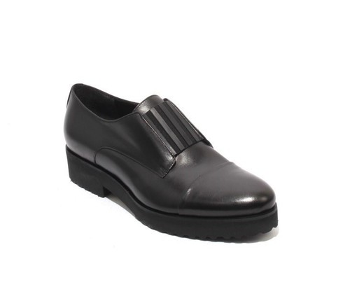 Black Leather / Elastic Loafers Comfort Shoes