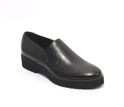 Black Leather Studded Loafers Comfort Shoes