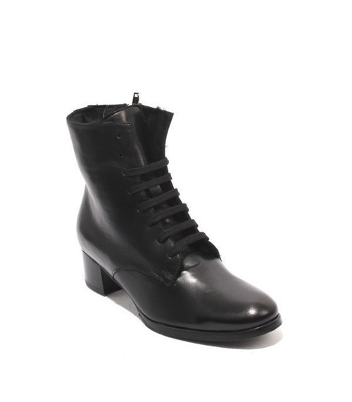 Black Leather / Lace-Up / Zip / Sheepskin Boots