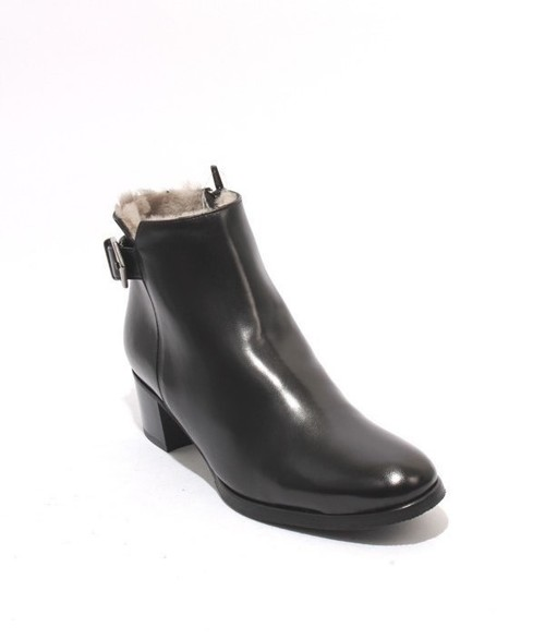 Black Leather Shearling Ankle Buckle Heel Boots