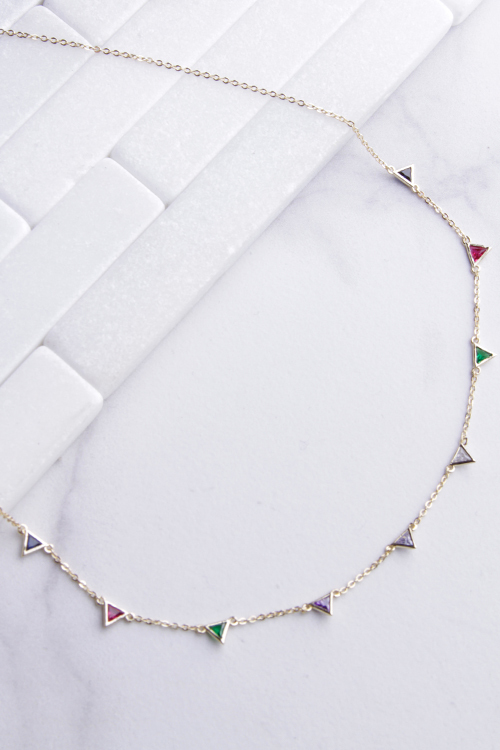 Triangle Rainbow CZ Necklace
