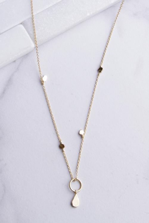 Circle Teardrop Dangle Necklace