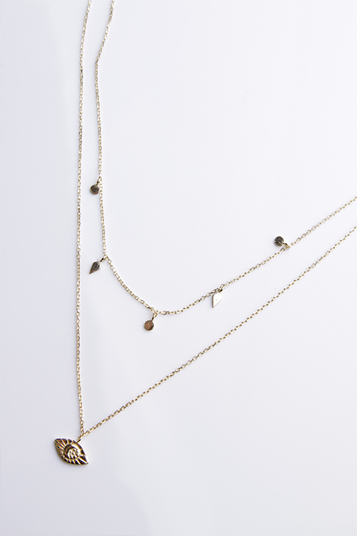 Layered Diamond Moon Necklace