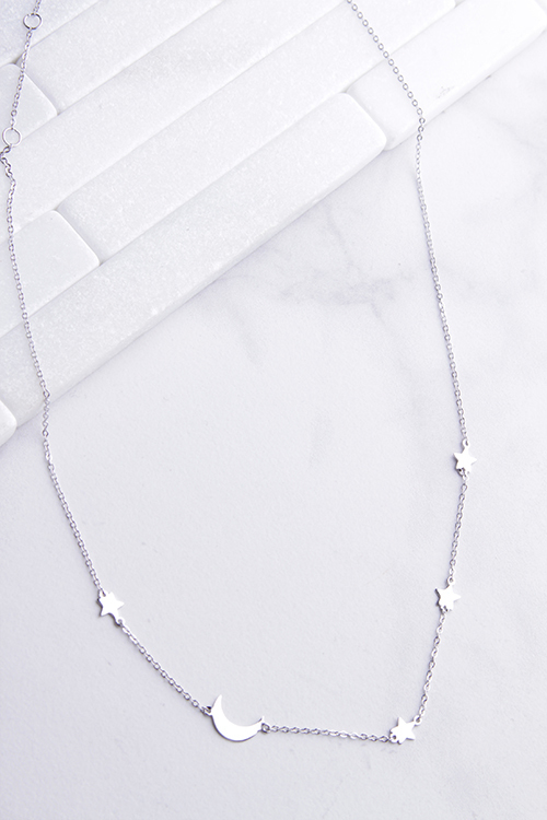 Sideways Moon & Stars Necklace