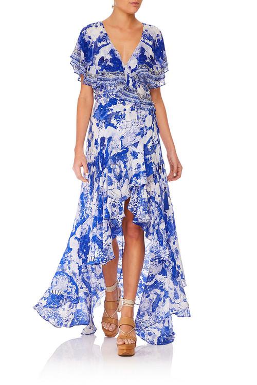 Frill Sleeve Long Dress