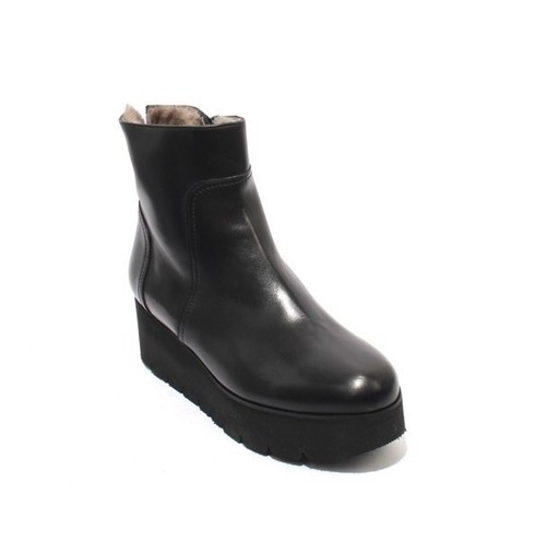Black Leather Zip-Up Shearling Wedge Boots