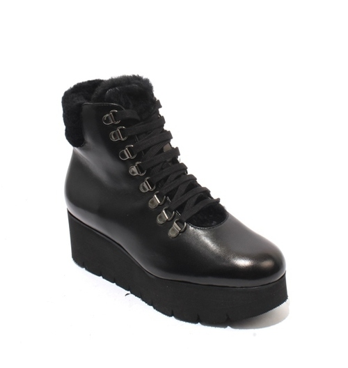 Black Leather Zip / Lace Shearling Wedge Boots