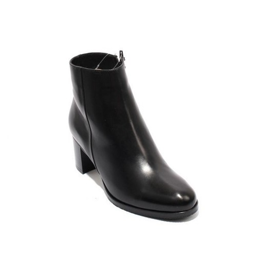 Black Leather Shearling Fur Ankle Heel Boots