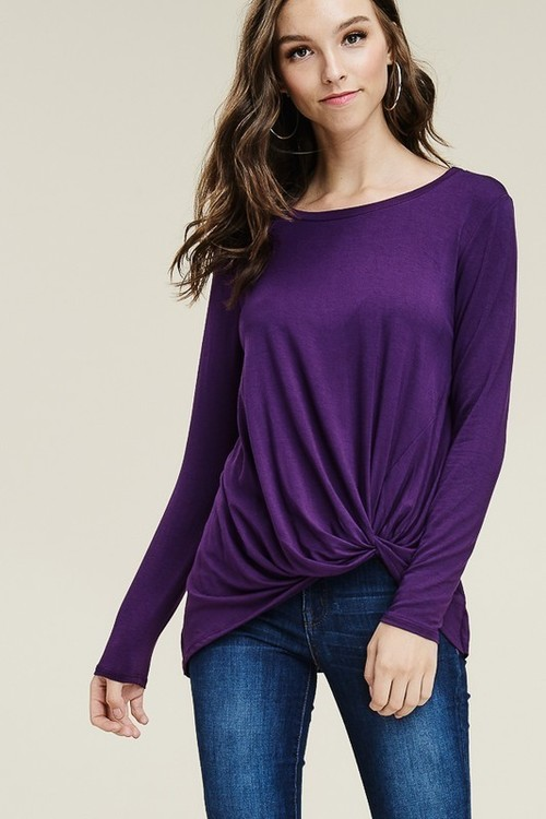 Plum Twist Hem Top