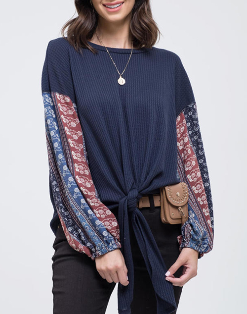 Front Tie Knit Top Featuring Printed Sleeves