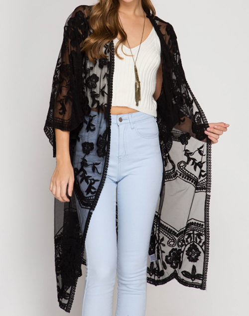 Half Sleeve Crochet Lace Midi Duster