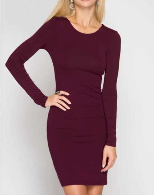 Basic Long Sleeve Bodycon Dress Black