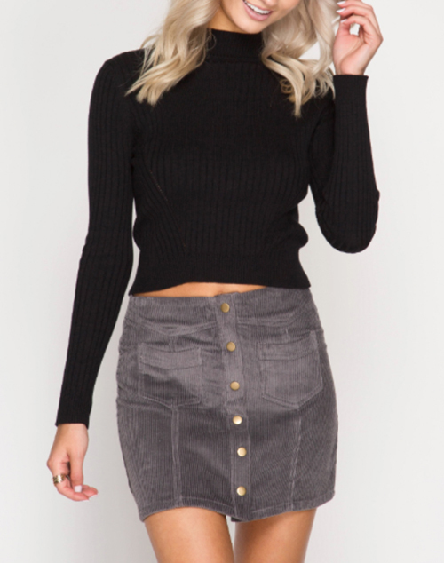 Corduroy Mini Skirt With Front Buttons