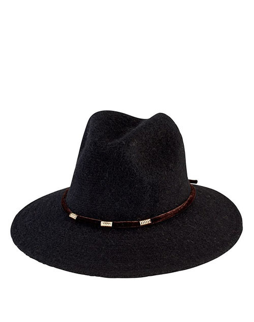 Knit Fedora With Velvet Band - Black