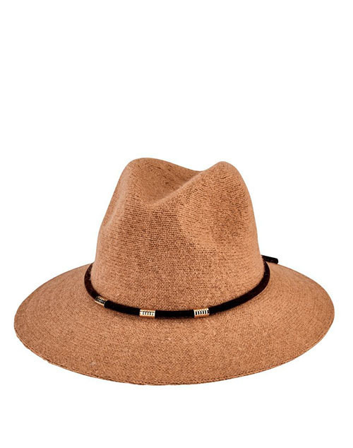 Knit Fedora With Velvet Band - Camel