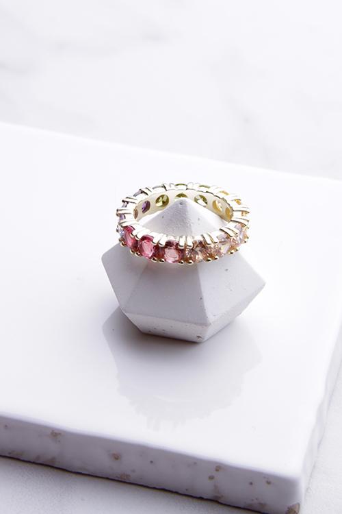 Rainbow Emerald Cut Ring