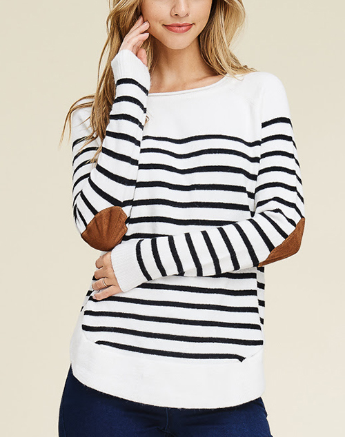 Stripe Pullover Sweater With Elbow Patch