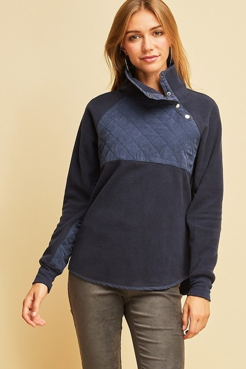 Quilted Top Fleece Pullover