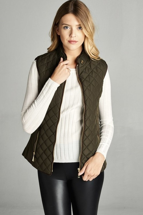 Olive Shearling Lined Quilted Vest