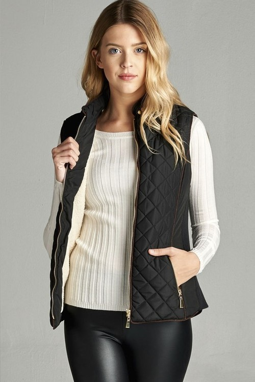 Black Shearling Lined Quilted Vest