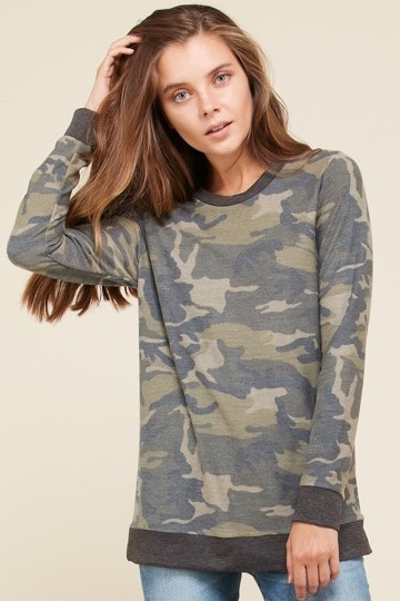 French Terry Camo Long Sleeve Pullover