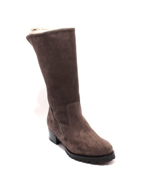 Brown Suede Sheepskin Fur Mid-Calf Zip Boots