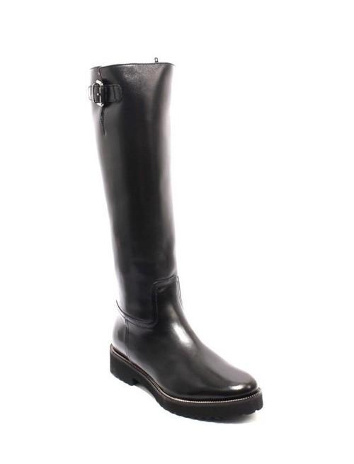 Black Leather Sheepskin Fur Knee High Zip Boots