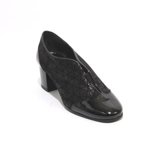 Black Patent Leather Suede Elastic Booties Heel Shoes