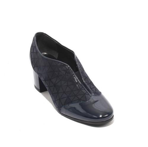 Navy Patent Leather Suede Elastic Booties Heel Shoes