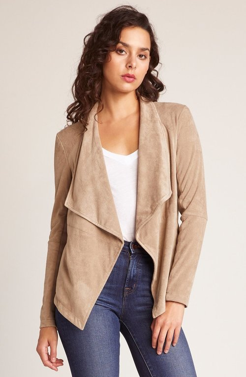 Wade Soft Suede Drape Front Jacket