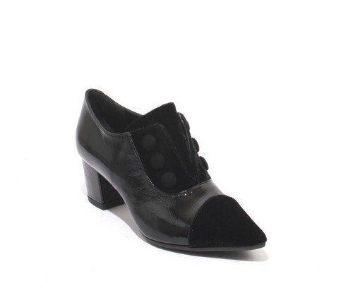 Black Patent Leather Velour Pointy Booties Heel Shoes