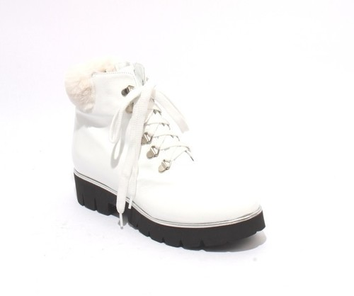 White Patent Leather Lace / Zip Ankle Platform Boots