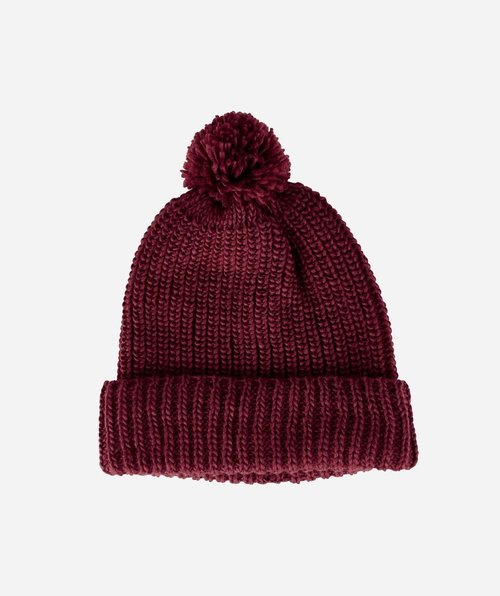 Solid Knit Beanie With Cuff/ Pom - Wine