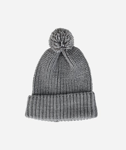 Solid Knit Beanie With Cuff/ Pom - Grey