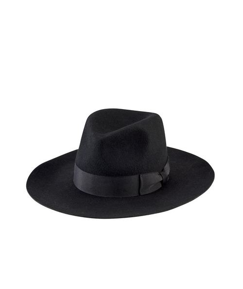 Wide Flat Brim Fedora - Black