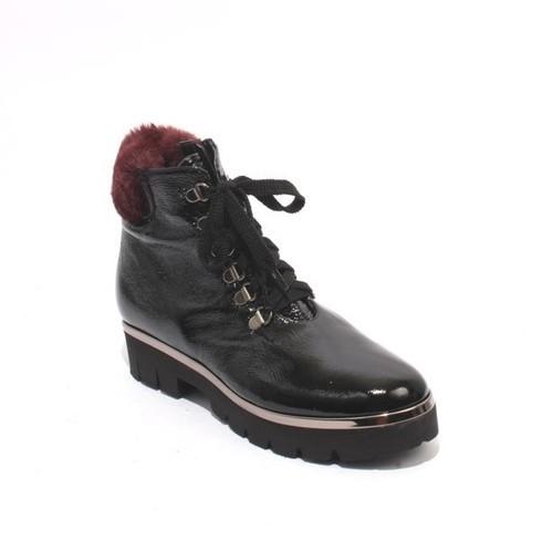 Black Patent Leather Lace / Zip Ankle Platform Boots