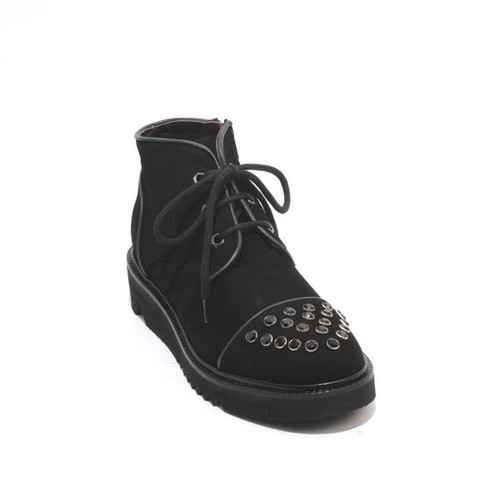 Black Navy Suede Lace Zip Ankle Platform Studded Boots