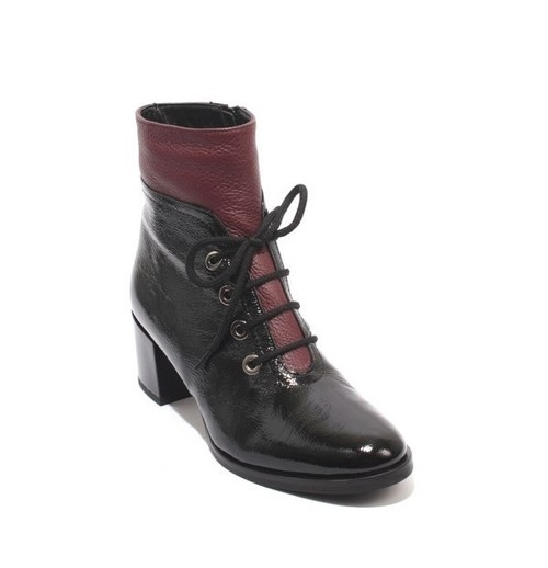 Black Bordo Patent Leather Zip Lace Ankle Heel Boots