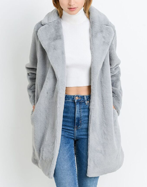 Long Sleeve Faux Fur Coat