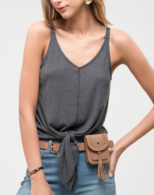 V Neck Knit Tank Top With Front Tie