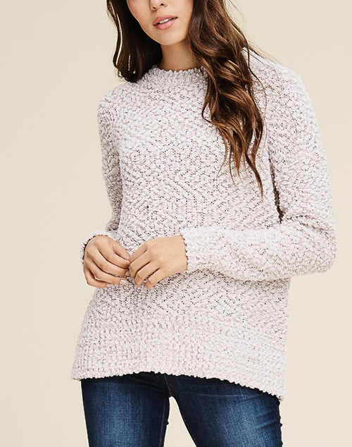 Crew Neck Long Sleeve Fluffy Pullover