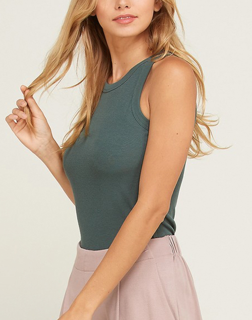 Sleeveless Ribbed Fitted Tank Top