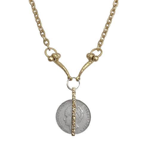 Gold Crystal Wilhelmina Horsebit Necklace