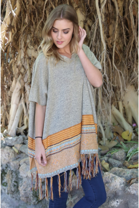 Colorful Hem Poncho