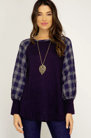 Long Sleeve Knit Top with Contrast Woven Sleeves