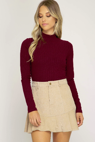 Corduroy Mini Trumpet Skirt