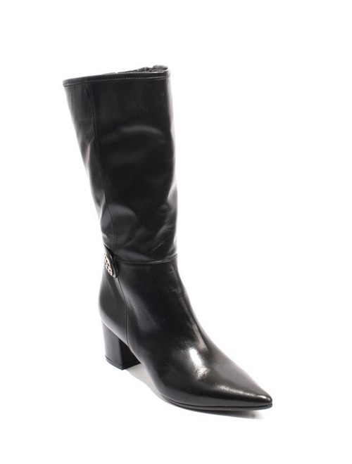 Black Leather Elastic Zip Pointy Mid-Calf Heel Boots
